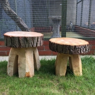 Hand carved wooden garden stools, part of our Forestry Features range