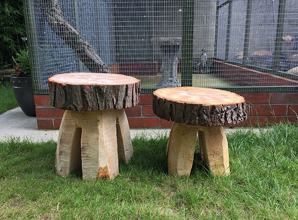 Hand carved wooden garden stools - part of our Forestry Features range